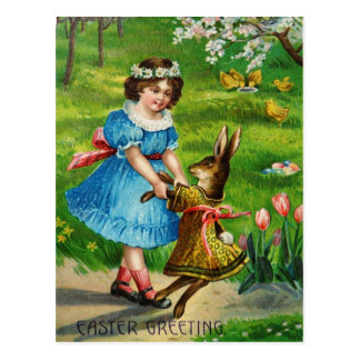 Easter Dance Victorian Dressed Bunny & Girl Postcard