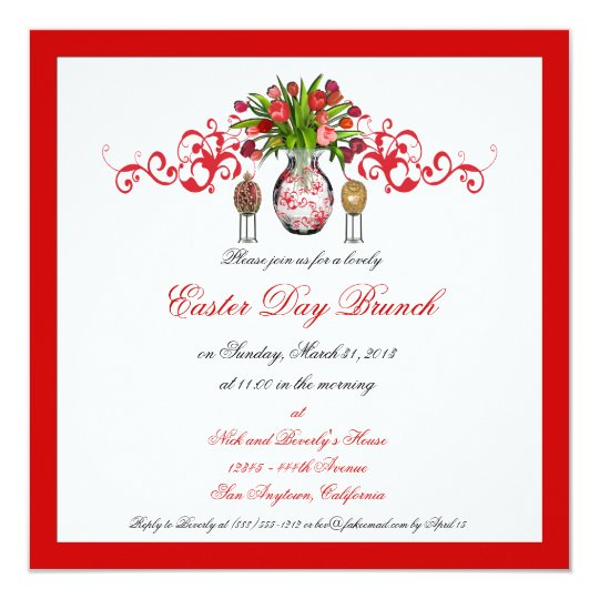 Easter Day Brunch Custom Invitations with Border
