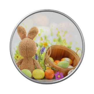 Easter Decoration with Rabbit and Eggs Candy Tins