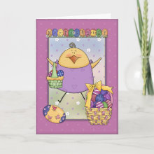 Easter design with cute chicken and eggs Card - A beautiful and very cute design for all your Easter greetings or inviatations.