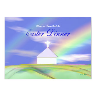 Easter Dinner Church and Rainbow Card