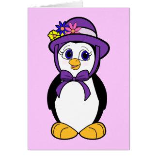 Easter Dinner Invitation with Penguin in Bonnet
