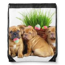 Easter Dogue de Bordeaux dog Drawstring Bag