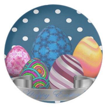 Professional Business easter, dots, strip, elegant, eggs dinner plate