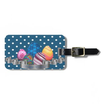 Professional Business easter, dots, strip, elegant, eggs luggage tag