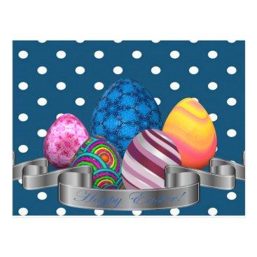 Professional Business easter, dots, strip, elegant, eggs postcard