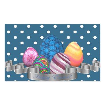Professional Business easter, dots, strip, elegant, eggs rectangular sticker