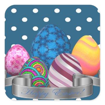 Professional Business easter, dots, strip, elegant, eggs square sticker