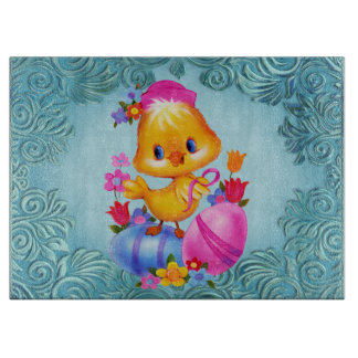 Easter Duck glass cutting board
