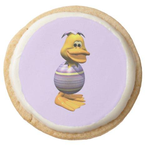 Easter Duck Round Shortbread Cookie