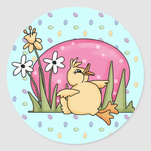 Easter Duck Round Stickers