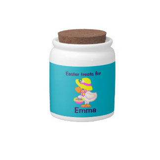 Easter Duck with Bonnet and Basket of Eggs Candy Jar