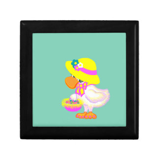 Easter Duck with Bonnet and Basket of Eggs Jewelry Box