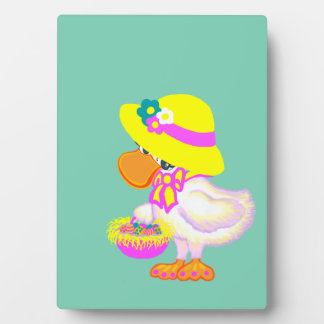 Easter Duck with Bonnet and Basket of Eggs Photo Plaques