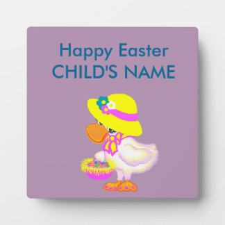 Easter Duck with Bonnet and Basket of Eggs Photo Plaque