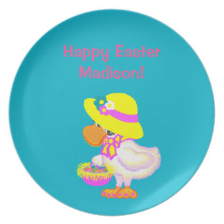 Easter Duck with Bonnet and Basket of Eggs Party Plate