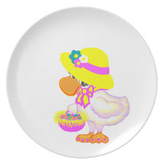 Easter Duck with Bonnet and Basket of Eggs Plate