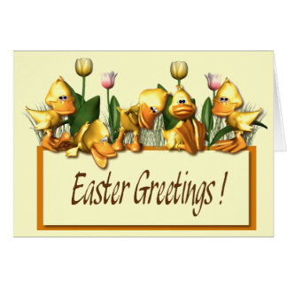 Easter Ducklings and Tulips Card