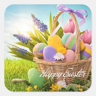 """Easter - """"Easter Basket"""" Square Sticker"""