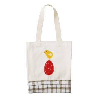 Easter egg an chicken cartoon zazzle HEART tote bag