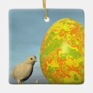 Easter egg and chicks - 3D render Ceramic Ornament