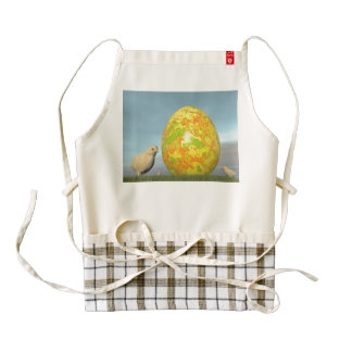 Easter egg and chicks - 3D render Zazzle HEART Apron