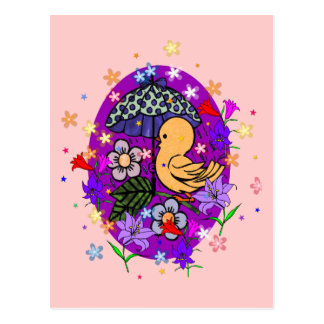 Easter Egg and Flowers Postcard