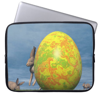 Easter egg and hare - 3D render Laptop Sleeve