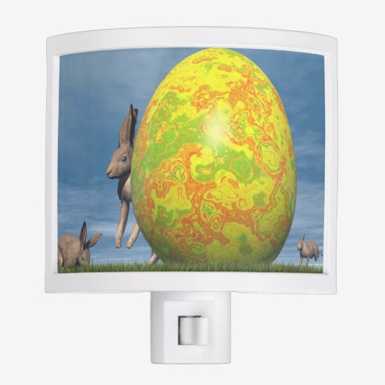 Easter egg and hare - 3D render Night Light