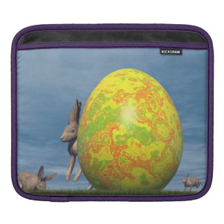 Easter egg and hare - 3D render Sleeve For iPads