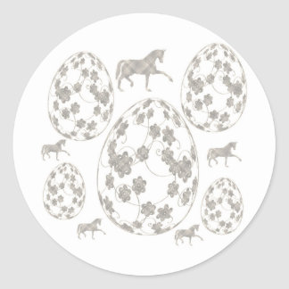 Easter egg and horse classic round sticker