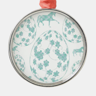 Easter egg and horse metal ornament