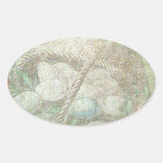 Easter Egg Basket Oval Sticker
