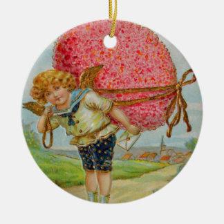Easter Egg Bird Cupid Cherub Angel Double-Sided Ceramic Round Christmas Ornament