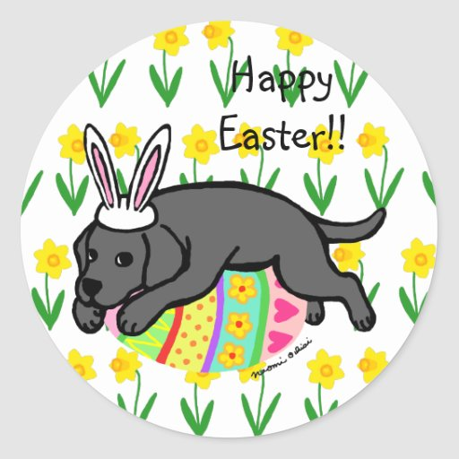 Easter Egg Black Labrador Cartoon Classic Round Sticker