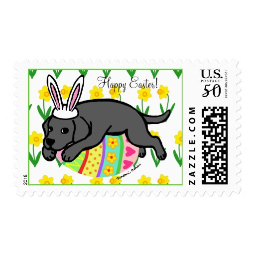 Easter Egg Black Labrador Cartoon Postage