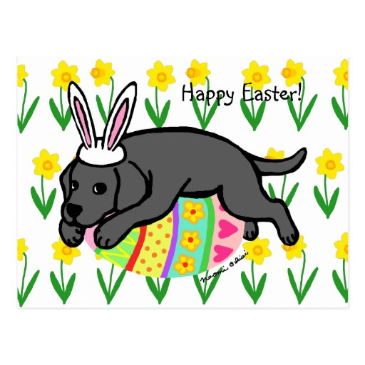 Easter Egg Black Labrador Cartoon Postcard