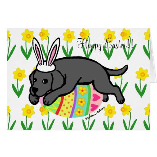 Easter Egg Black Labrador Puppy Cartoon Card