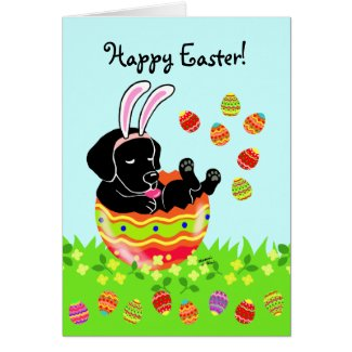Easter Egg Black Labrador Puppy Cartoon