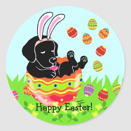 Easter Egg Black Labrador Puppy Cartoon Classic Round Sticker