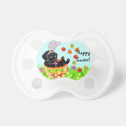 Easter Egg Black Labrador Puppy Cartoon Pacifier