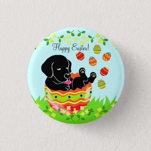 Easter Egg Black Labrador Puppy Cartoon Pinback Button