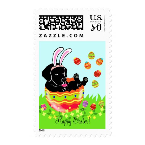 Easter Egg Black Labrador Puppy Cartoon Postage