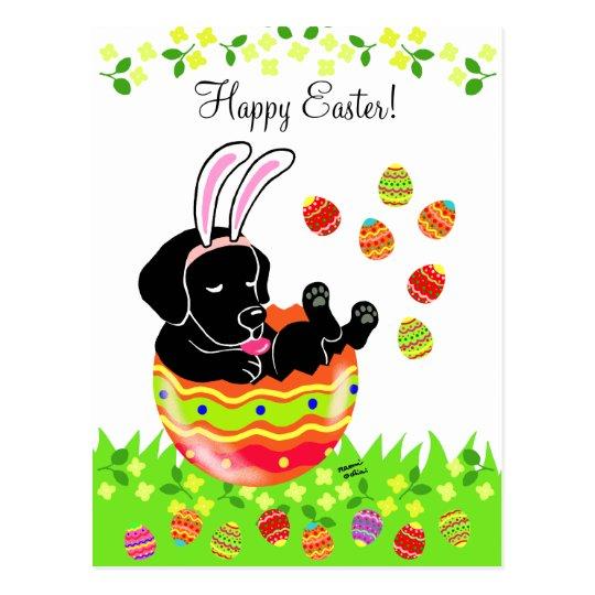 Easter Egg Black Labrador Puppy Cartoon Postcard