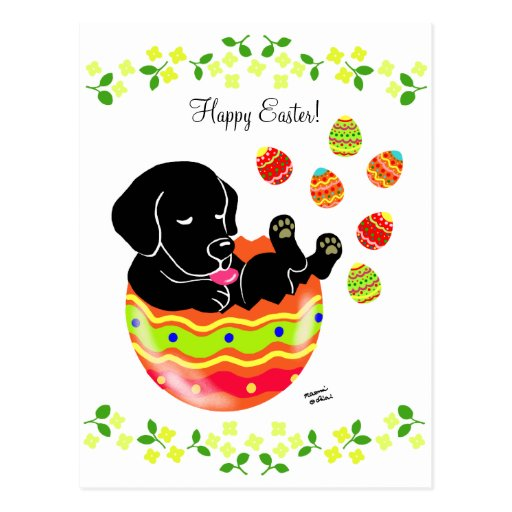 Easter Egg Black Labrador Puppy Cartoon Postcard