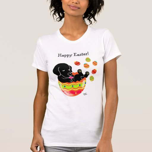Easter Egg Black Labrador Puppy Cartoon T-Shirt
