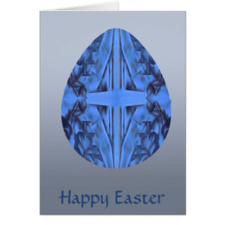Easter Egg Blue Mosaic with Cross Card
