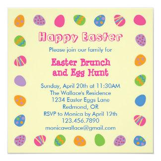 """Easter Egg Border Invitation 5.25"""" Square Invitation Card"""
