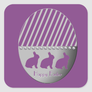 Easter Egg Bunnies Purple Square Sticker