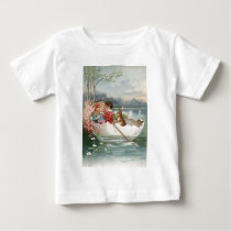 Easter Egg Bunny Boat Young Couple Landscape Baby T-Shirt